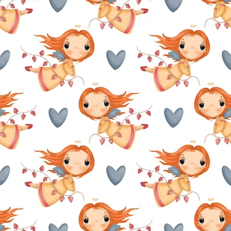 Seamless pattern with cute cartoon angel and hearts on white background