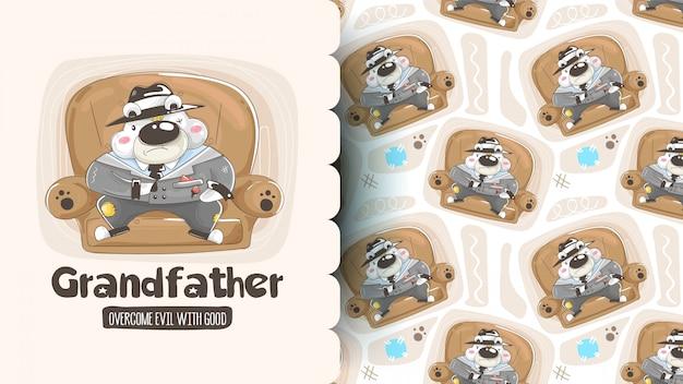 Seamless pattern with cute cartoon bears: panda, brown bear and polar bear holding hearts. vector background.
