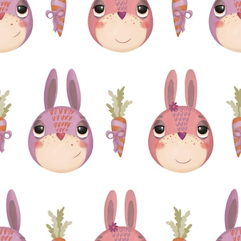 Seamless pattern with cute cartoon bunnies and carrots on a white background