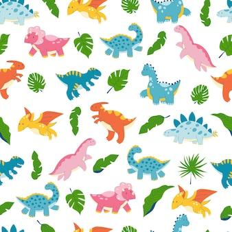 かわいい漫画の恐竜恐竜爬虫類ドラゴンモンスターフラットパターンの葉とのシームレスなパターン