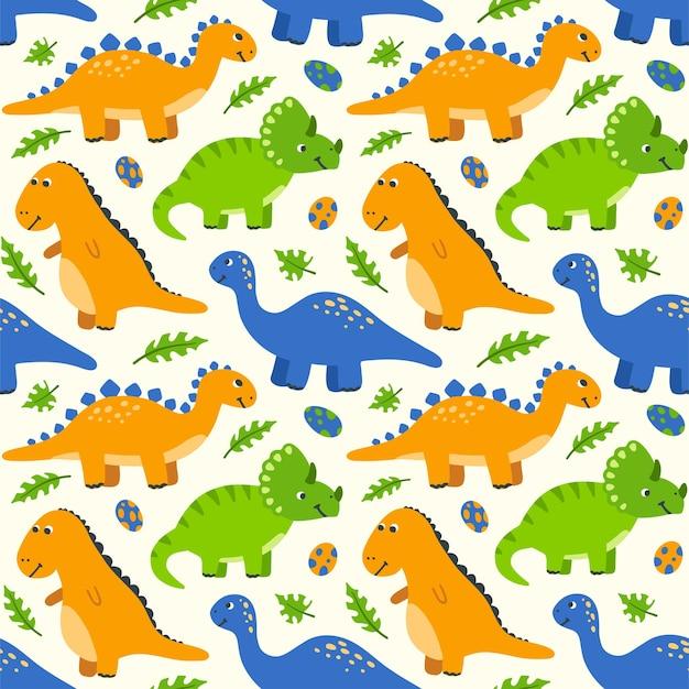 かわいい漫画の恐竜と卵とのシームレスなパターン手描きの恐竜と子供の背景