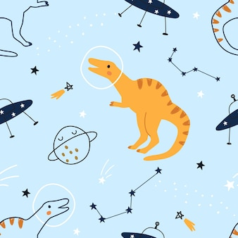青い背景の上のスペースでかわいい漫画恐竜とのシームレスなパターンベクトル図