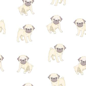 かわいい漫画の犬の子犬とのシームレスなパターン。背景、壁紙、ファブリックなどのデザインとして使用できます。フレンチブルドッグパターン