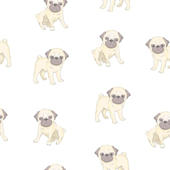 Seamless pattern with cute cartoon dog puppies. can be used as a background, wallpaper, fabric and for other design.french bulldog pattern