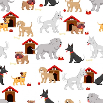 Seamless pattern with cute cartoon dog