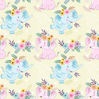Seamless pattern with cute cartoon elephant and flowers fabric texyile.