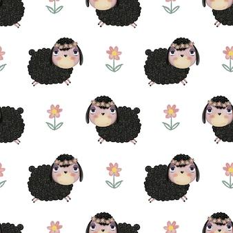 Бесшовный фон с милыми мультяшными ягнятами и цветами на белом фоне