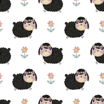 Seamless pattern with cute cartoon lambs and flowers on a white background