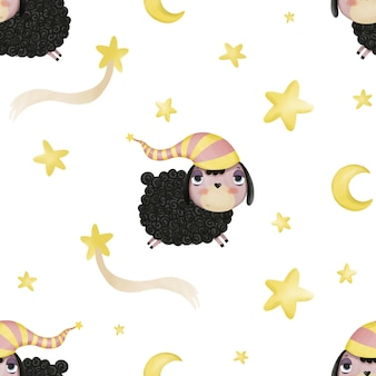 Seamless pattern with cute cartoon lambs and stars on a white background