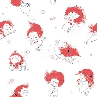 Seamless pattern with cute cartoon little mermaid