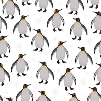 Seamless pattern with cute cartoon penguins and snowflakes.