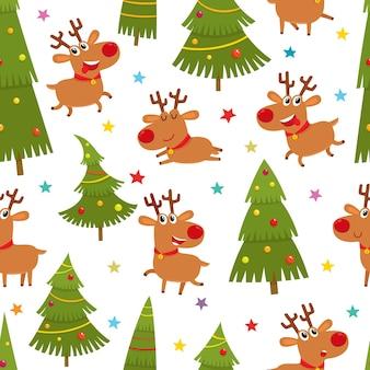 Бесшовный фон с милыми мультяшными оленями и рождественской елкой