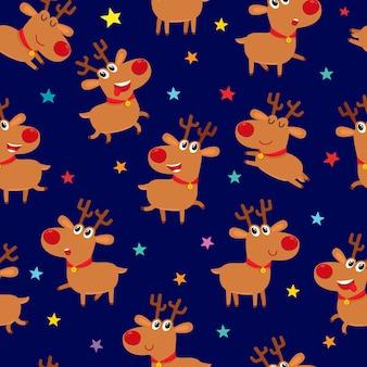 Бесшовный образец с милыми мультяшными оленями, иллюстрация на синем фоне.
