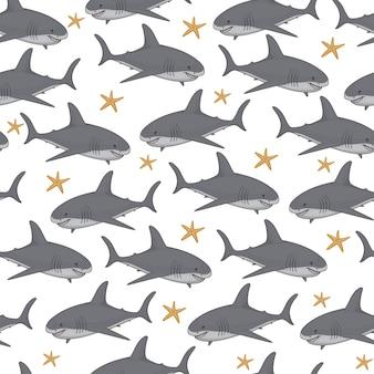 Бесшовный образец с милыми акулами мультфильма и рыбой пальца.