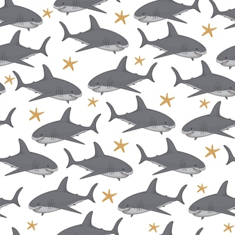 Seamless pattern with cute cartoon sharks and finger fish.