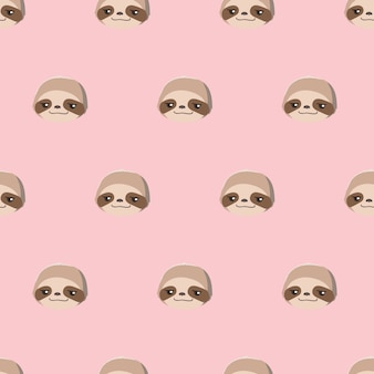 Seamless pattern with cute cartoon sloth heads