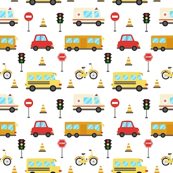 Seamless pattern with cute cartoon transportation means.