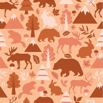 Seamless pattern with cute cartoon