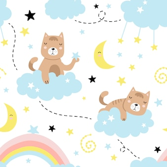 Seamless pattern with cute cat, clouds, stars, moon, rainbow