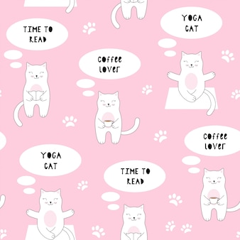 Seamless pattern with cute cat. coffee, reading, yoga