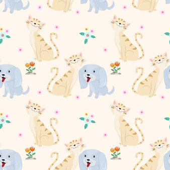 Seamless pattern with cute cat and dog fabric textile