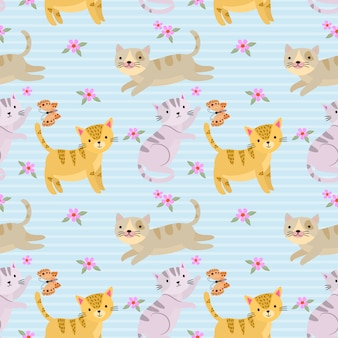 Seamless pattern with cute cat for fabric textile wallpaper.