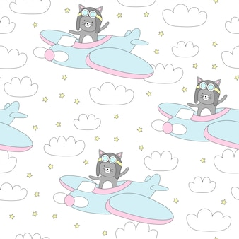 Seamless pattern with cute cat flies on a plane.