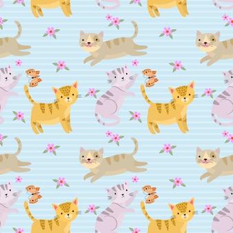 布繊維の壁紙のためのかわいい猫とのシームレスなパターン。