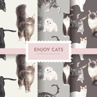 Seamless pattern with cute cat
