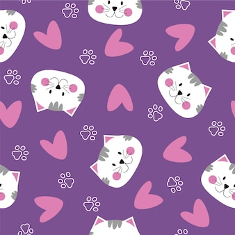 かわいい猫の顔のハートの猫の足とのシームレスなパターン紫のピンクと白の色
