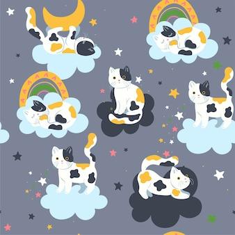 かわいい猫と雲とのシームレスなパターン。ベクトルグラフィックス。