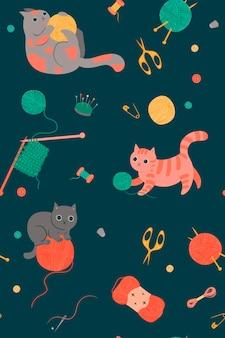Бесшовный фон с милыми кошками и инструментами для рукоделия. векторная графика.