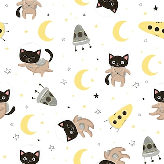 헬멧에 귀여운 고양이 우주 비행사와 함께 완벽 한 패턴입니다. 어린이 디자인, 포장지, 벽지, 섬유, 의류, 직물을 위한 완벽한 배경. 벡터 일러스트 레이 션 eps10입니다.