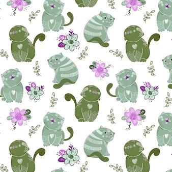 かわいい猫のキャラクターと花のシームレスパターン