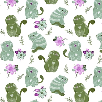Seamless pattern with cute cats characters and flowers