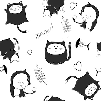 Seamless pattern with cute cats characters