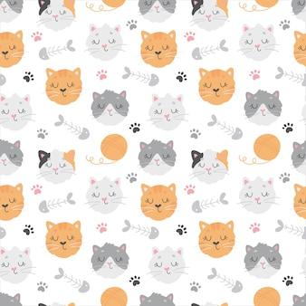 かわいい猫、クルー、足跡、魚の骨とのシームレスなパターン