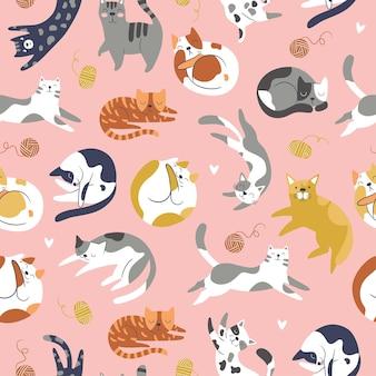 귀여운 고양이와 완벽 한 패턴입니다. 스칸디나비아 스타일의 창의적인 유치한 질감. 직물, 섬유에 적합
