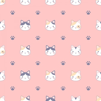 Seamless pattern with cute cats and footprint, design for fabrics, textiles, wallpaper design concept.