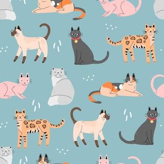 青い背景の上のかわいい猫とのシームレスなパターン動物と背景ベクトルイラスト