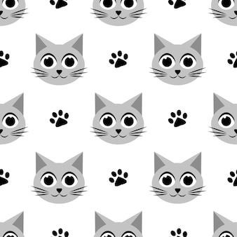 Seamless pattern with cute cats and paw prints