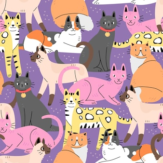Seamless pattern with cute cats on a purple background background with animals vector illustration