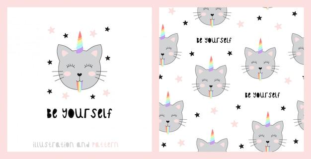 Seamless pattern with cute cats unicorn.