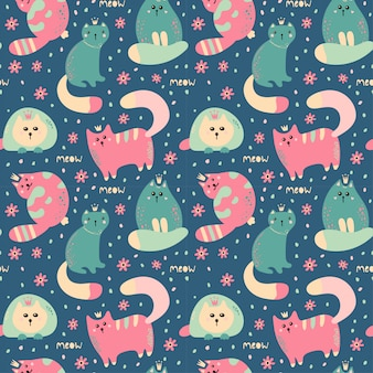 Seamless  pattern with cute cats .