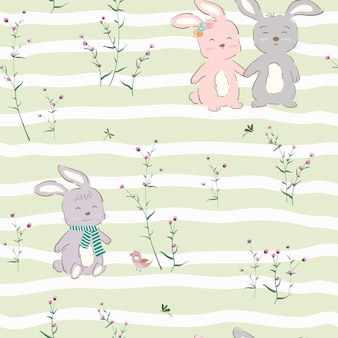 Seamless pattern with cute character of bunnies happy on violet garden