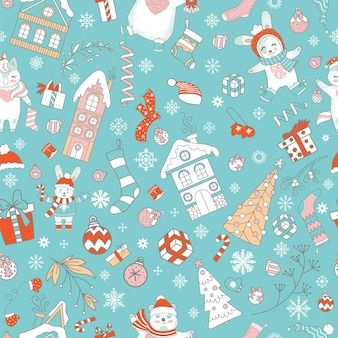 Бесшовный фон с милыми персонажами и рождественскими элементами, изолированными на цветном фоне мяты. векторная иллюстрация.
