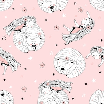 Seamless pattern with cute characters in doodle style. the girl and the bear are asleep.