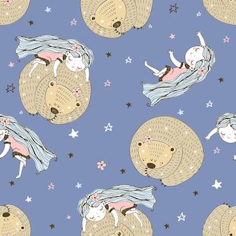 落書き風のかわいいキャラクターとのシームレスなパターン。少女とクマは眠っています。ベクター。
