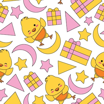 Seamless pattern with cute chick, box gift and stars vector cartoon suitable for kid birthday wallpaper design, scrap paper and kid fabric clothes background