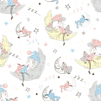 Seamless pattern with cute children in pajamas who sleep on the lunar months.